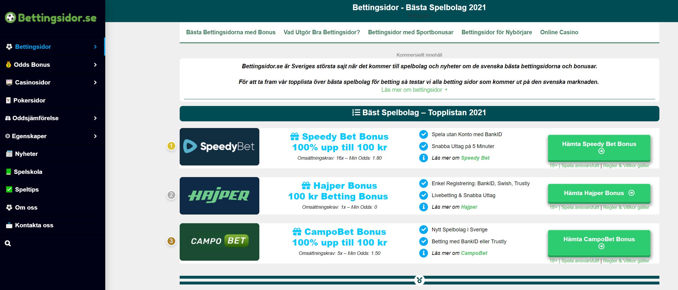 Nya bettingsidor 2021 lista 80410